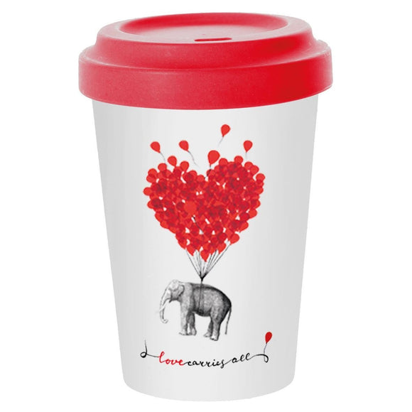 Travel Mug Bamboo Love carries all - Caths Direct