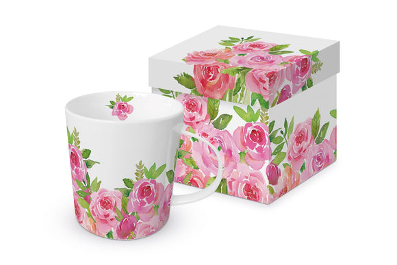Merci! Pink Roses Design Trend Gift Mug Boxed - Caths Direct