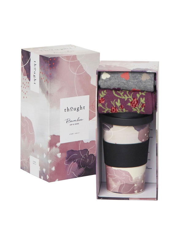 Hearts Bamboo Cup & 2 Pairs of Ladies Socks by Thought - Caths Direct