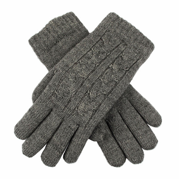 Dents Cable Knit Fleece Lined Gloves Charcoal - Caths Direct
