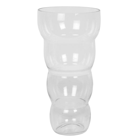 Clear Glass Ribbed Vase 30cm