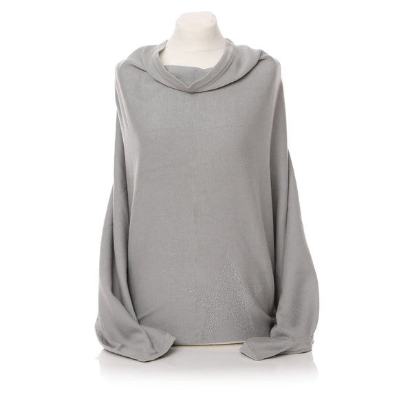 Ladies Light Grey Poncho with Star - Caths Direct