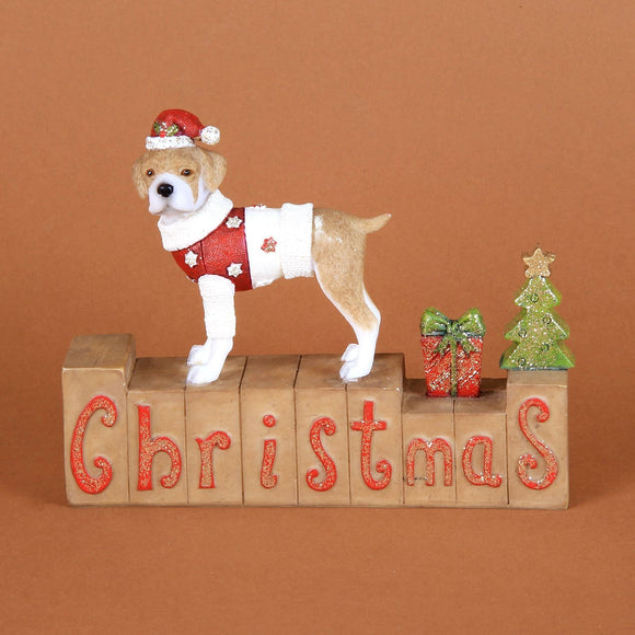 Dog on Mantel Block Christmas Winter Wonderland