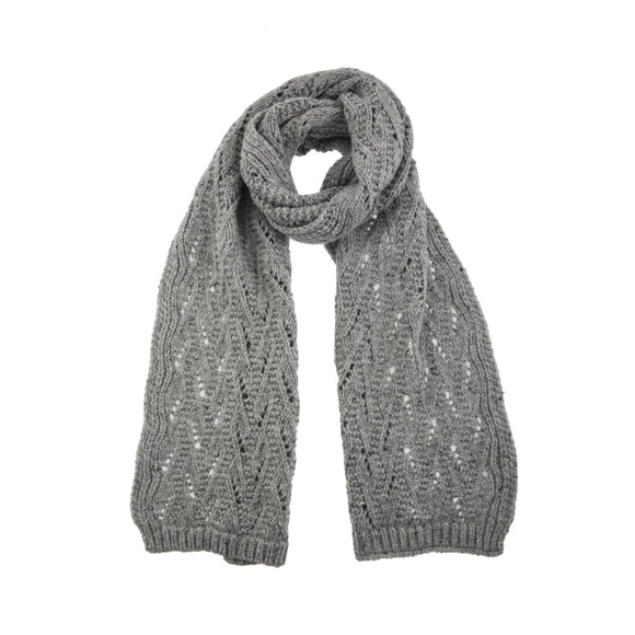 Dents Dove Grey Lace Knit Scarf - Caths Direct