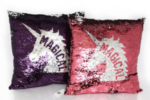 Sequin Unicorn Design Cushion - Caths Direct
