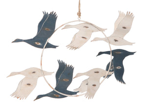 Flying Blue & White Birds Wall Hanging - Caths Direct