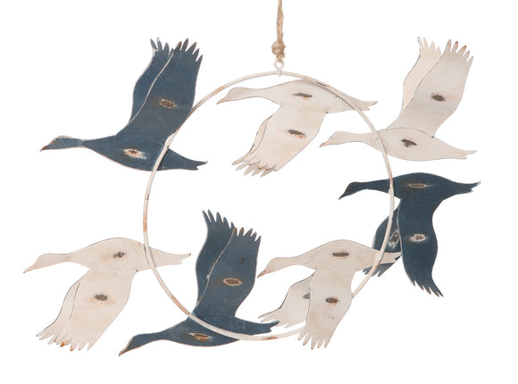 Flying Blue & White Birds Wall Hanging