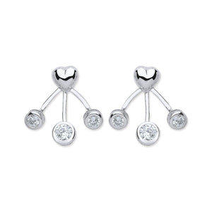 Ladies Sterling Silver Heart Stud & CZ Stone Trio Back Earrings - Caths Direct