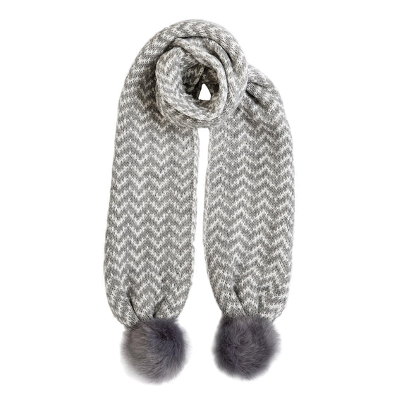 Dents Dove Grey & Winter White Knitted Scarf with Pom Poms - Caths Direct