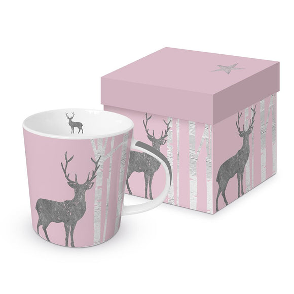 Mystic Deer Rose Design with Real Platinum Trend Mug in Matching Gift Box - Caths Direct