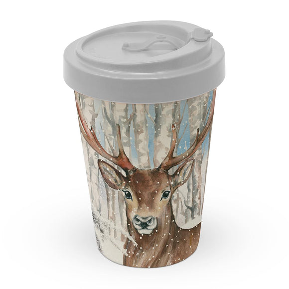 Charles the Reindeer Christmas Design Bamboo Eco-Friendly Travel Mug - Caths Direct