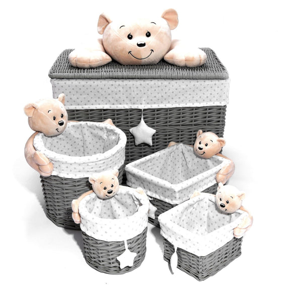 Grey Wicker Baby Bear Set of 5Lined Baskets - Caths Direct