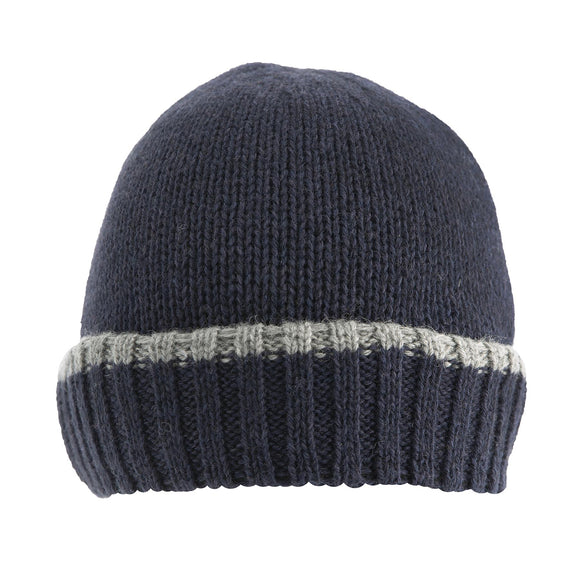 Dents Mens Knitted Beanie Hat with Up Turn Brim Navy/Slate M