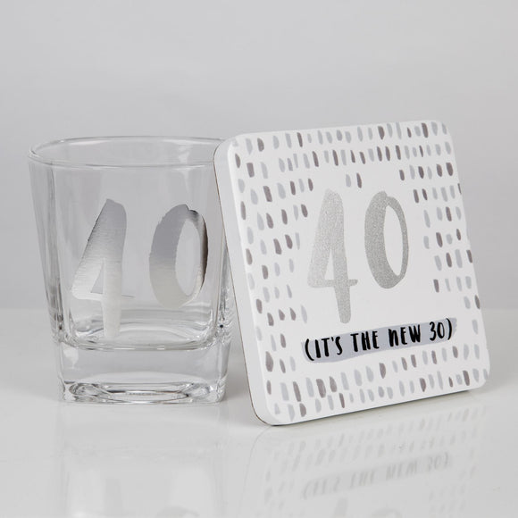 40th Birthday Whisky Glass & Coaster Set