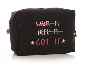 Black Shimmer Cosmetic Bag Want It Need It Got It - Caths Direct