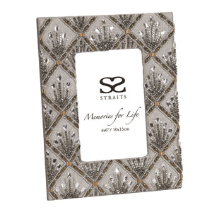 Beaded & Embroidered Grey Photo Frame - Caths Direct