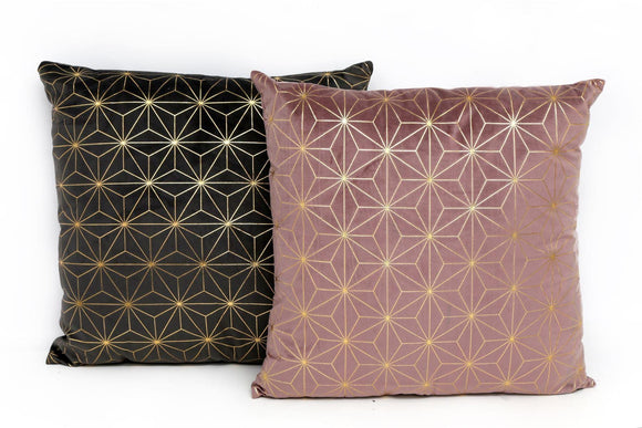 Velvet Touch Square Cushion with Gold Pattern - Caths Direct