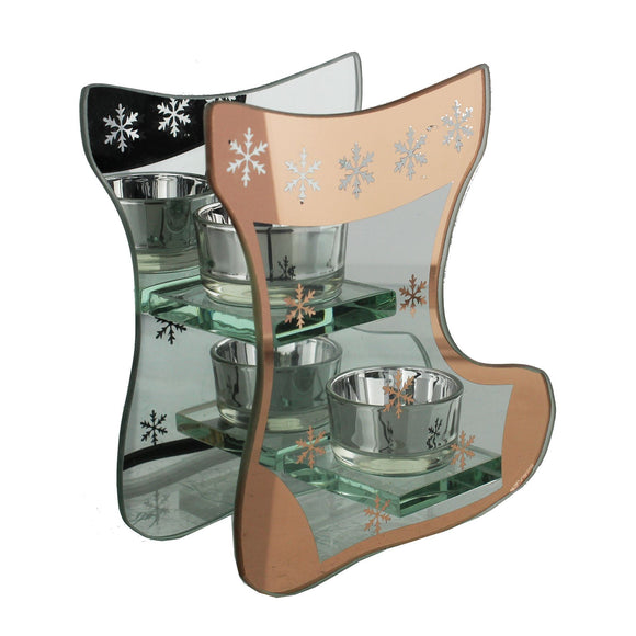 Grandeur Stocking Shaped Double Tea Light Holder - Caths Direct