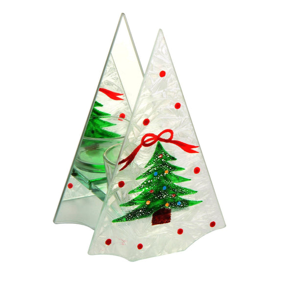Frosted Christmas Tree Shaped Single Tealight Holder Christmas Decoration