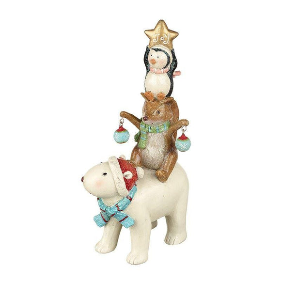 Festive Polar Bear, Fox & Penguin Glitter Christmas Figurine - Caths Direct