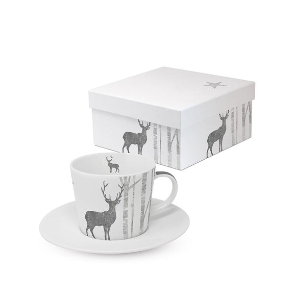 Mystic Deer Silver Design Trend Espresso Cup & Saucer Set in Matching Box - Caths Direct
