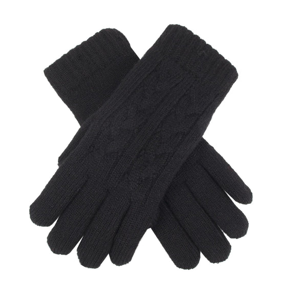 Dents Cable Knit Fleece Lined Gloves Black