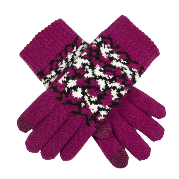Dents Knitted Pink Gloves Reptile Pattern with Touchsreen Technology - Caths Direct