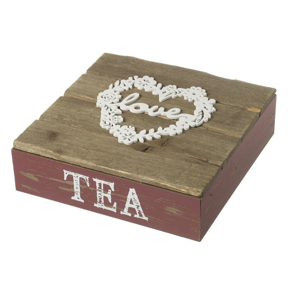 Wooden Love Tea Box - Caths Direct
