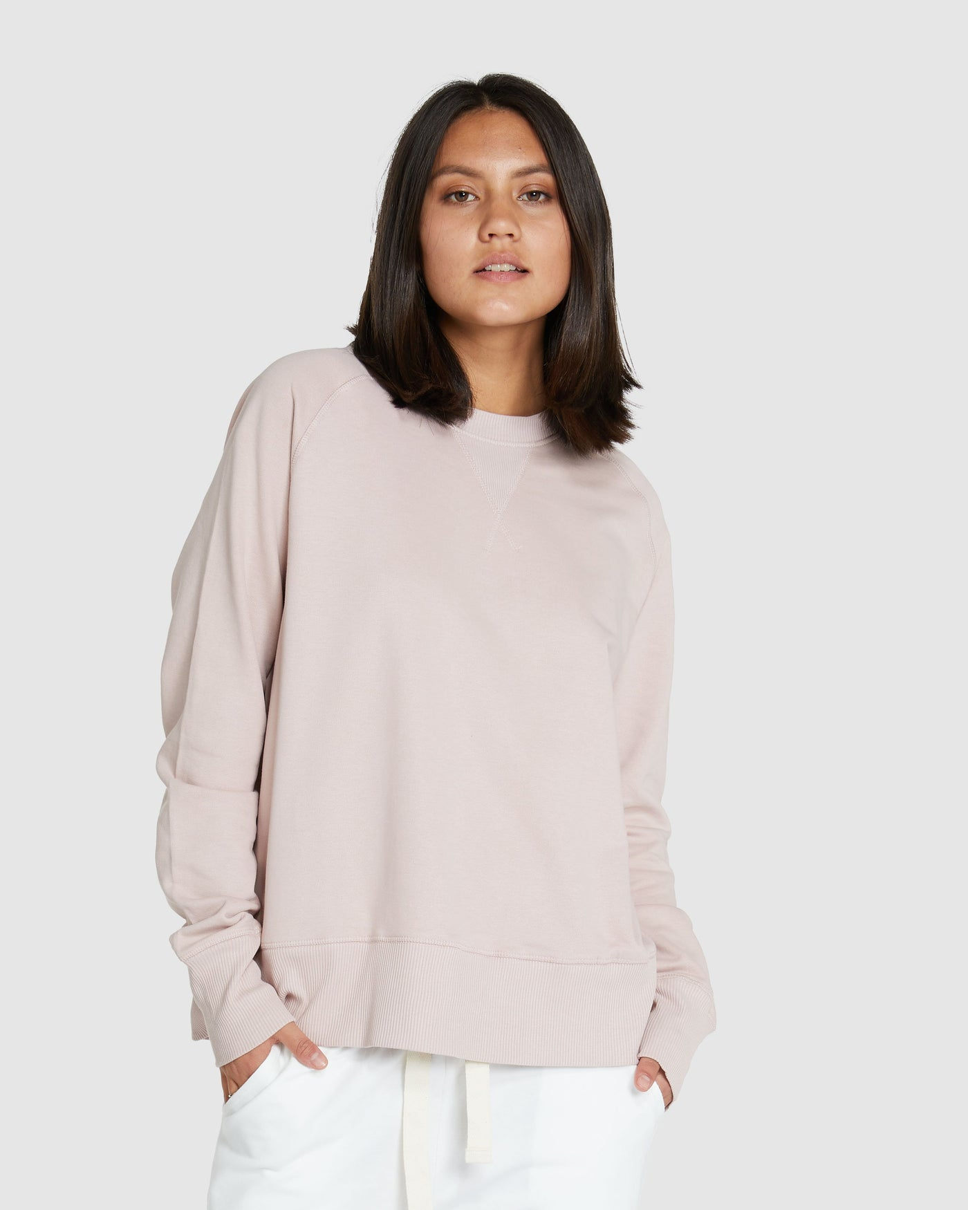 Raglan Terry Sweat | Dusty Rose