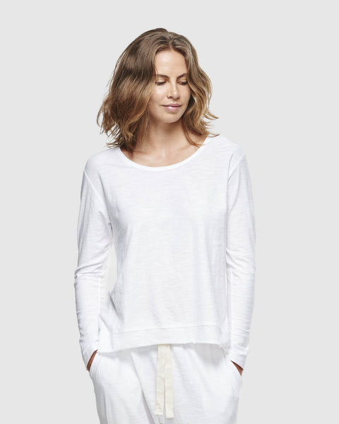 Slub Long Sleeve Top | White