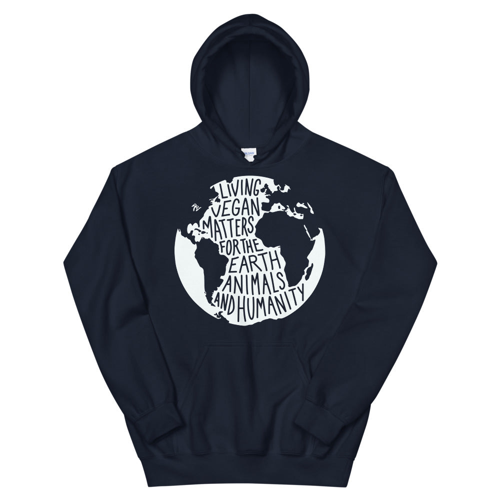 Living Vegan Matter Earth | Hoodie (dark blue)