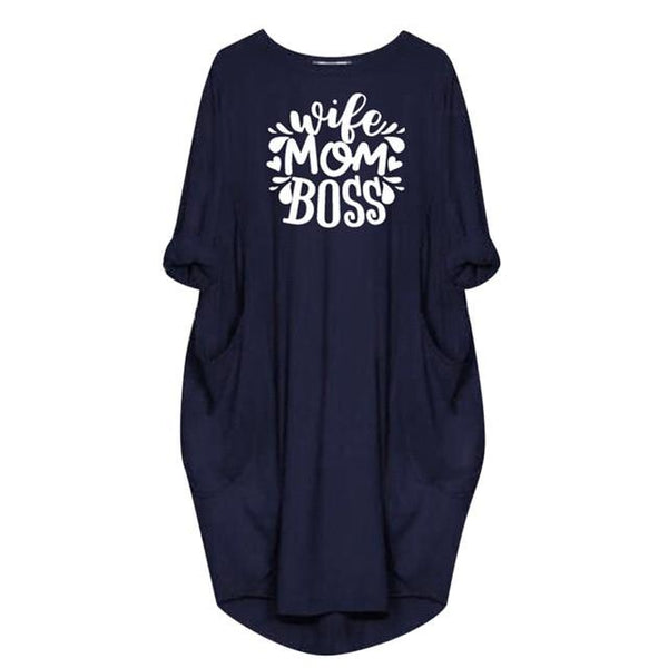 Womens Jumper Ladies Casual Dress Oversized Baggy O-Neck