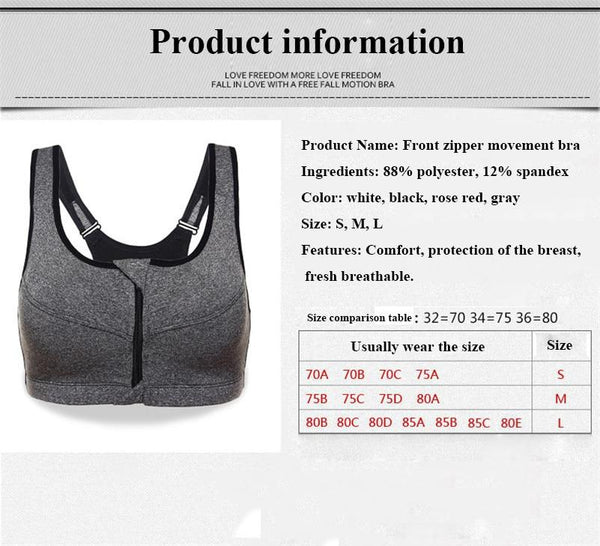 Women's High Impact Front Zip Wireless Padded Cup Tank Top Gym Active Sports Bra