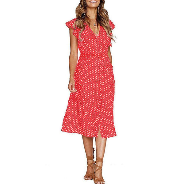 Women's Summer Boho Polka Dot Sleeveless V Neck