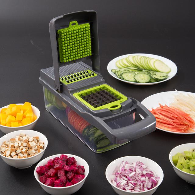 Vegetable Chopper - Spiralizer Vegetable Slicer - Onion Chopper with Container - Pro Food Chopper - Slicer Dicer Cutter - 4 Blades
