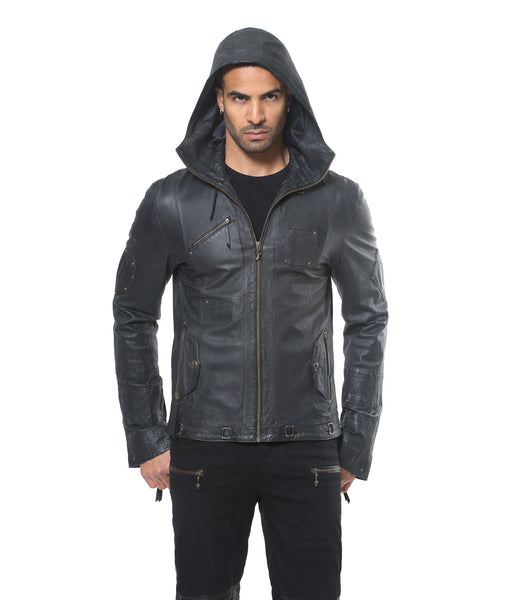 slim fitting thin high quality leather hoody.