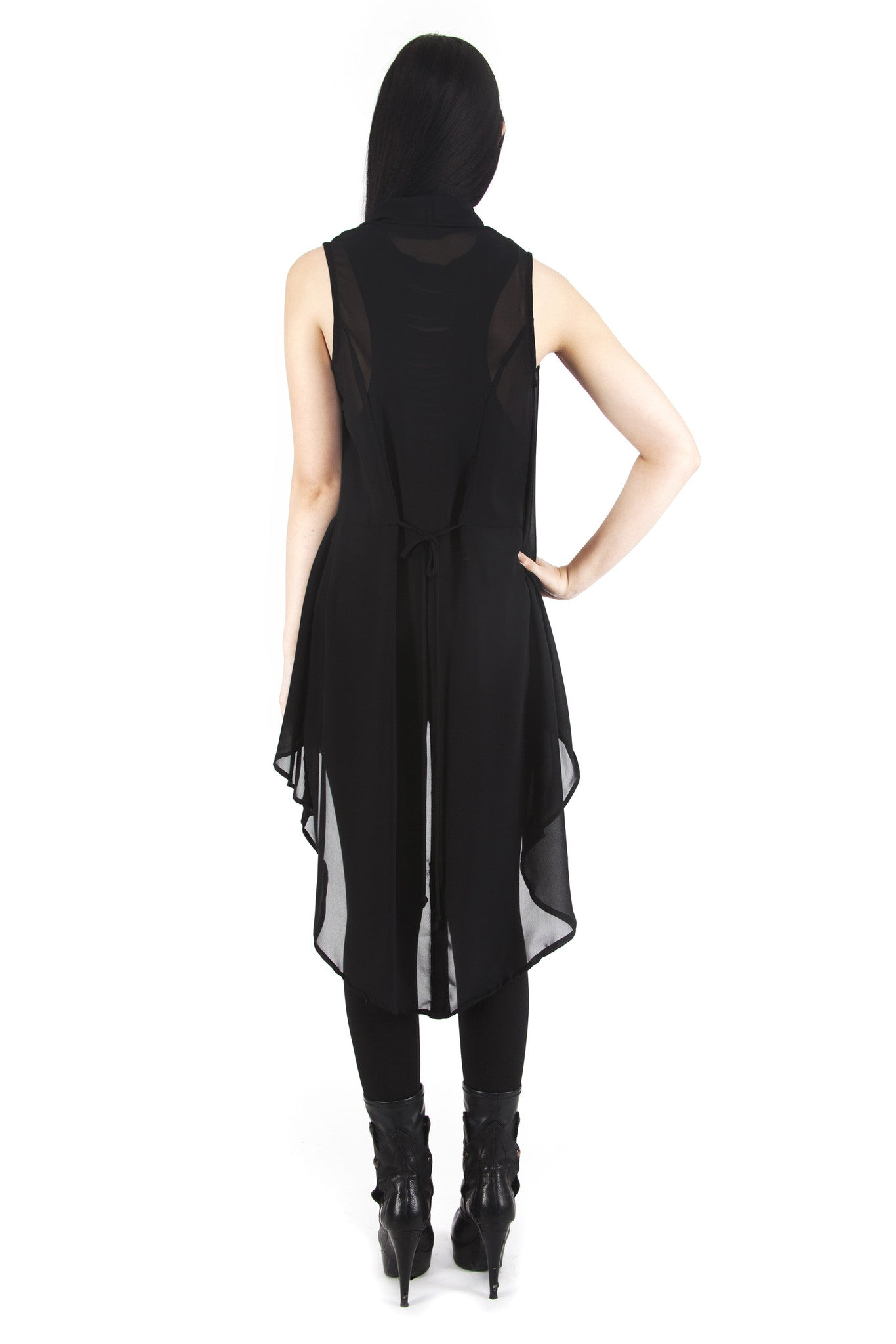 feather vest black