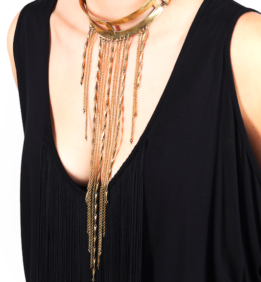cross collar w long chain