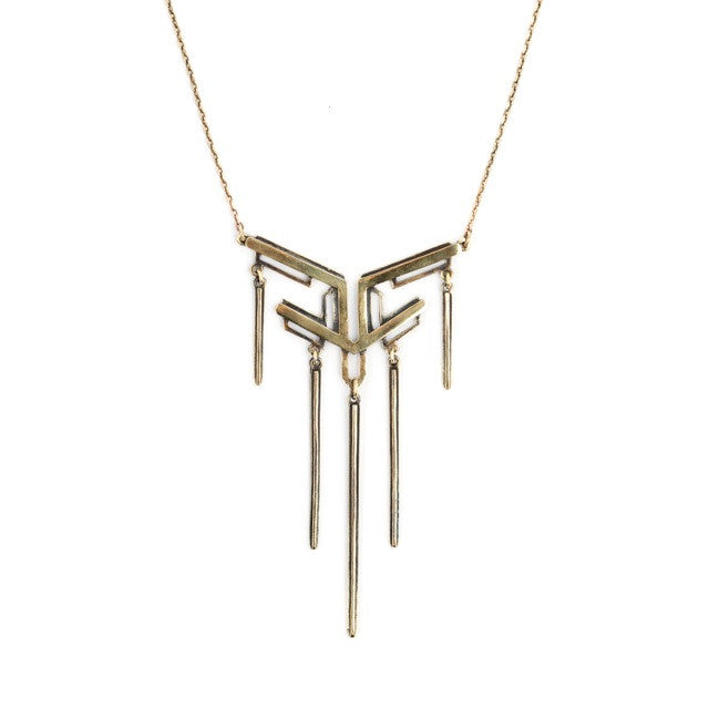 nouveau drop necklace brass