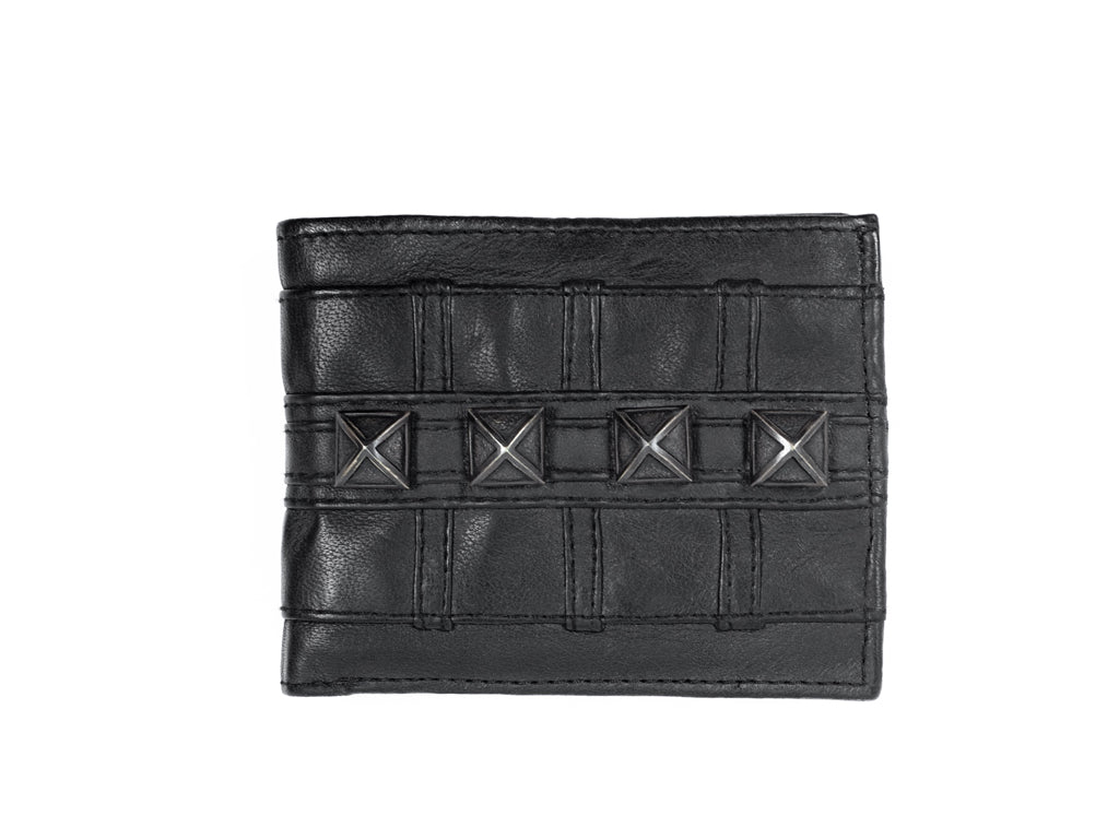 Pyramid studd wallet with chain