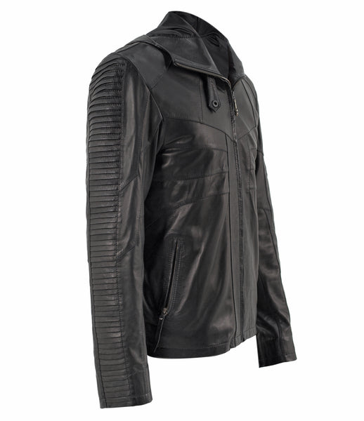 slim fitting hooded sheep leather jacket with layered scales down the arms.