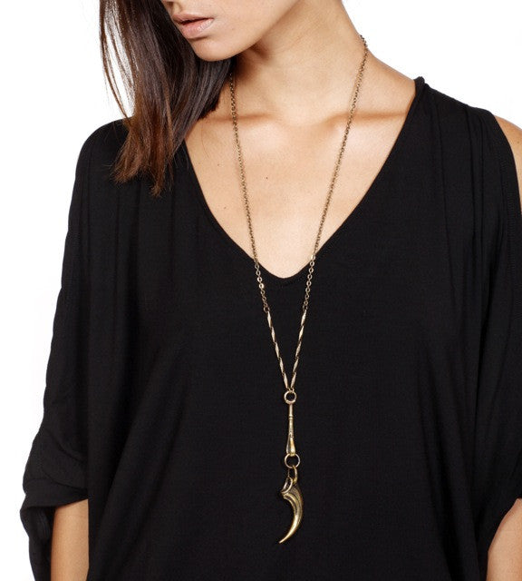 tiger talon pendulum necklace brass