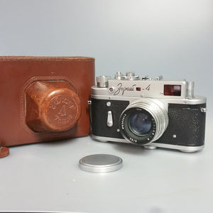 Zorki 4 Russian edition with brown carry case, 35mm camera, Russian camera