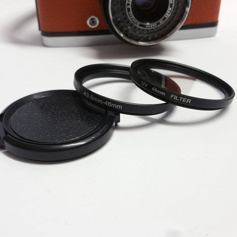 Olympus Trip 35 Filter Adapter System 43.5mm step up to 46mm UV filter and lens cap