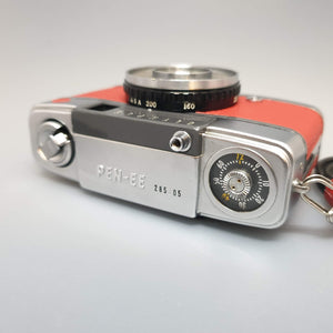 Olympus PEN-EE customised with Red leather - Greenwich Cameras and Film