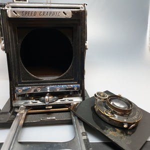 "Graflex Anniversary Speed Graphic 4x5"" Press Camera<br> with Voiglander 135mm F4.5 Dial-set Compur - Greenwich Cameras and Film"