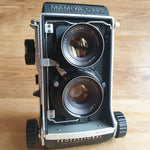 MAMIYA C220 6x6 TLR with 80mm f:3.7 Sekor lens Fully serviced and with Custom Real leather covering.