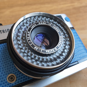 Olympus Trip 35 fully serviced, custom with real leather Blue Lizard effect emboss