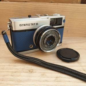 Olympus TRIP 35 customized with blue leather - Greenwich Cameras and Film