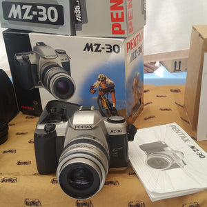 Pentax MZ-30 boxed with Pentax 35-80mm lens, 35mm camera, Beginner, Street photography,